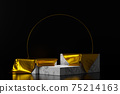 3d rendering empty marble podiums with gold clothes. Abstract scene for product mock up design. 75214163