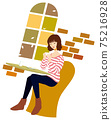 一個女人在一家咖啡館放鬆的插圖 75216928