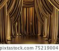 Golden metallic curtain background 3d render 75219004