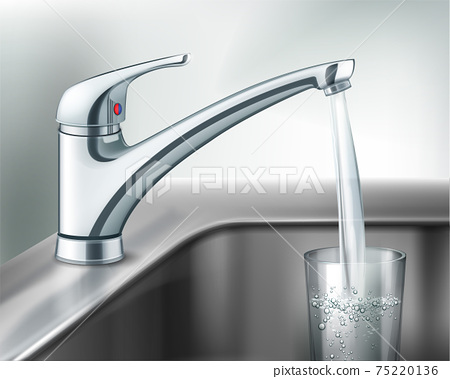 Filling glass of water 75220136
