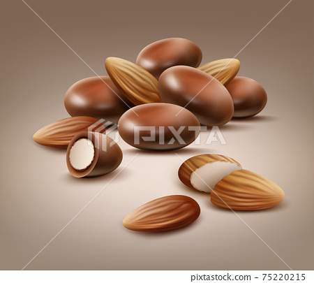Handful of almond nuts 75220215