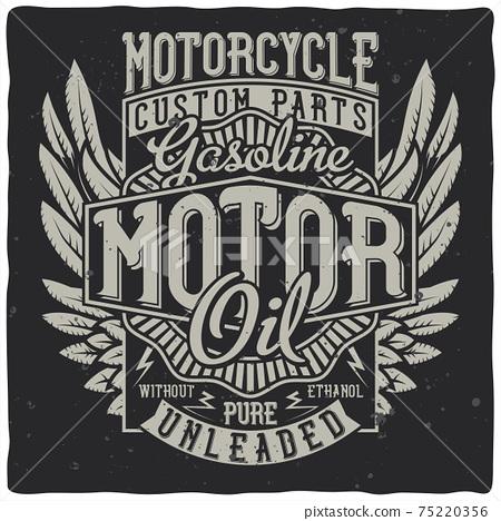 Vintage label design with lettering composition on dark background. T-shirt design. 75220356