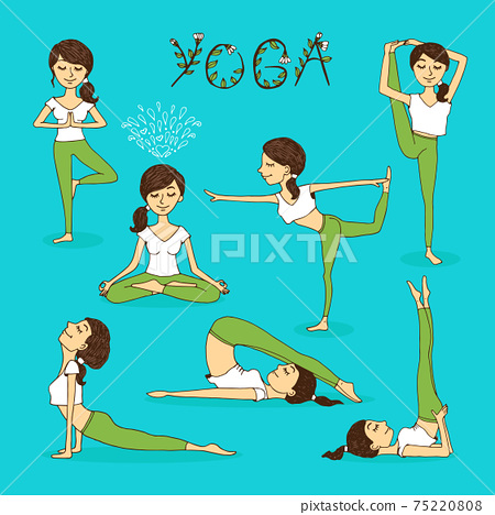 Vector hand-drawn yoga poses 75220808