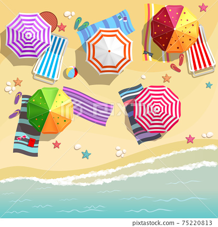 Aerial view of summer beach in flat design style 75220813