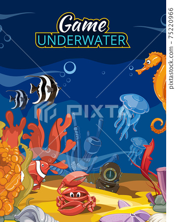 Underwater world computer game. Vector screen in cartoon style with title 75220966