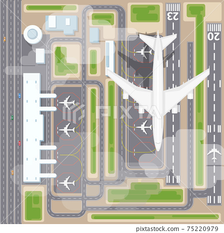 Airport landing strips top view 75220979