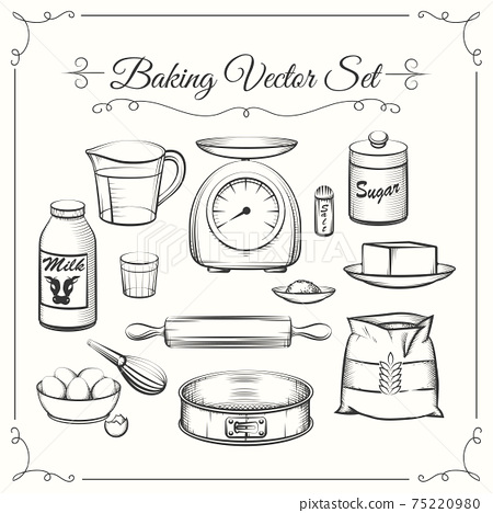 Baking food ingredients and kitchen tools in hand drawn vector style 75220980