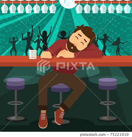 Drunk man asleep at bar 75221010