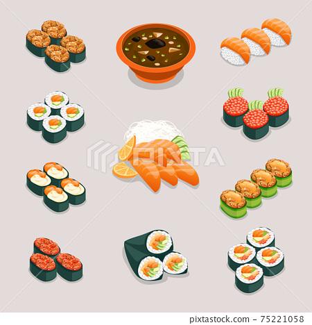 Asia food icons. Rolls sushi, miso soup and sashimi 75221058