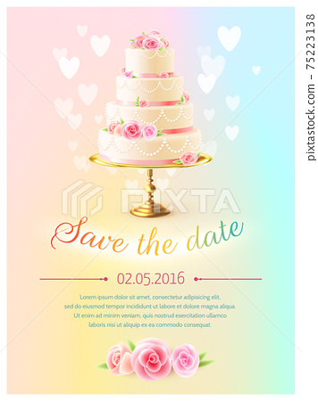 Wedding Card Invitation With Cake Realistic 75223138