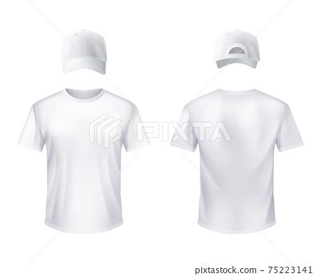 WhiteT-shirtt Baseball Cap Man Realistic 75223141