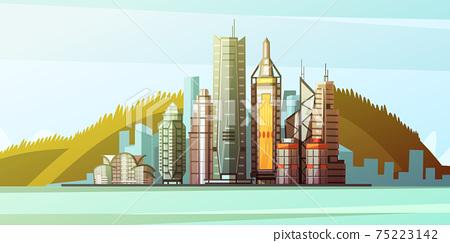 Cartoon Panorama Of Hong Kong Center 75223142