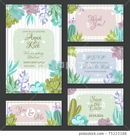Cactus Wedding Cards Set 75223186