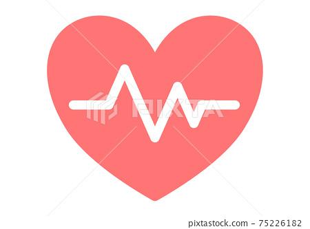 心臟和心電圖的簡單設計插圖 75226182