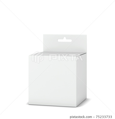 Blank box packaging with hanger mockup 75233733