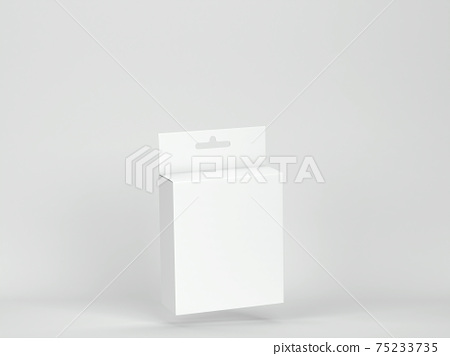 Blank box packaging with hanger mockup 75233735