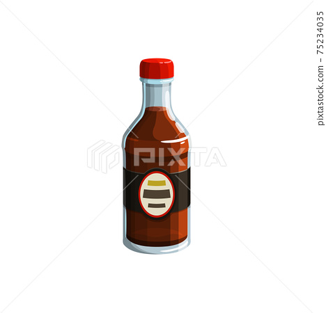 Soy sauce in bottle with cap isolated flat icon 75234035