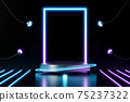 3d rendering empty neon cylinder podium on black background. Abstract scene for product mock up template. 75237322