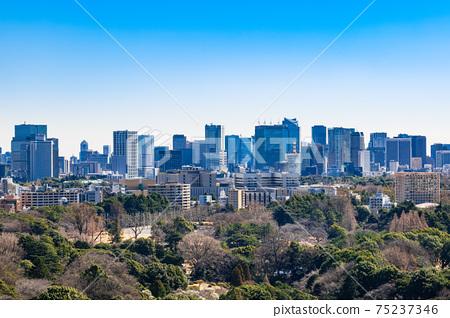 從東京新宿看千代田區和港區周圍的摩天大樓 75237346