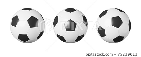 Set of soccer ball or football with different view on white isolated background . Simple design . Sports equipment concept . 3D rendering . 75239013