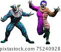 Killer clowns 3D illustration	 75240928