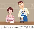夫婦在廚房裡享受咖啡 75250316
