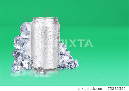 Tin cans and ice cubes on colored background.3d rendering, fit for your design element. 75251542