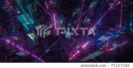 Smart city with particle glowing light connection design 75257280
