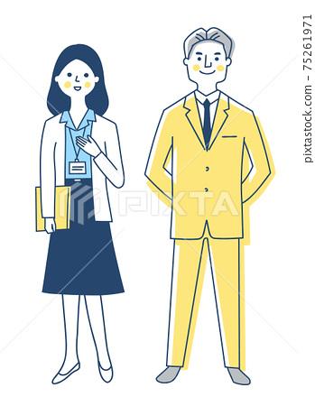 商務人士男性和女性全身 75261971