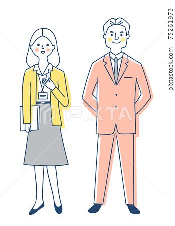 商務人士男性和女性全身 75261973