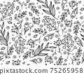 Vector seamles floral pattern, black silhouettes. Abstract floral background. 75265958