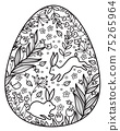 Vector Easter egg shape for coloring. Flora and rabbits  spring pattern. 75265964