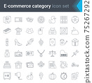 Set of e-commerce and online shopping web icons in line style. Mobile shop, digital marketing. High quality vector illustration. 75267292