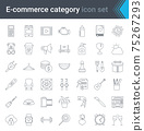 Shop category outline icons set. Shopping and e-commerce thin line icons 75267293