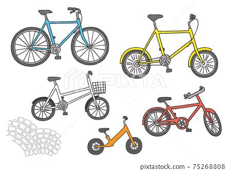 Bicycle hand-drawn illustration set (color) 75268808