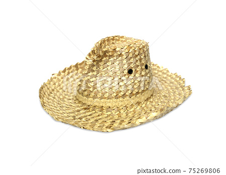 Old straw hat on a white background. 75269806