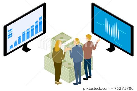 三個男人和女人討論企業戰略,同時看圖,等距 75271786