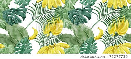 熱帶熱帶植物連續背景圖案 75277736