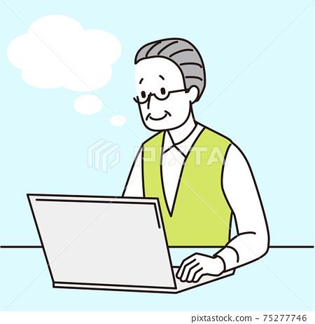 老人看著筆記本電腦 75277746