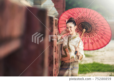 Thai Woman In Traditional Costume Of Thailand. 75280859