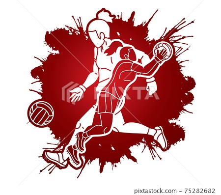 Group of Gaelic Football Female Players Sport Action Cartoon Graphic Vector. 75282682