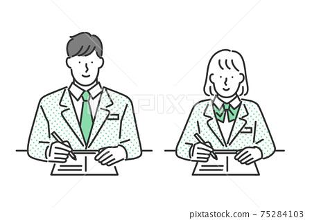 男學生和女學生學習的插圖素材 75284103