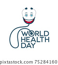 World Health Day Lettering with Emoticon Stethoscope 75284160