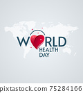 World Health Day Lettering Heart and Star Shapes 75284166