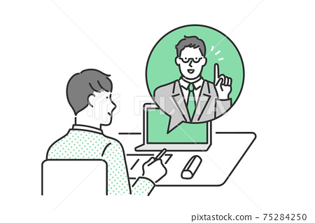 Image illustration material of students taking online classes at home 75284250