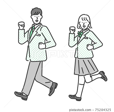 Full-body illustration material of male and female students posing 75284325
