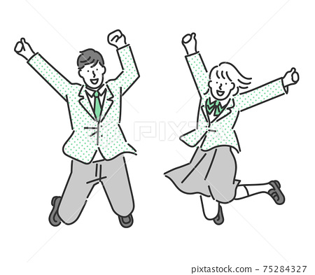 Full-body illustration material of energetic male and female students jumping 75284327