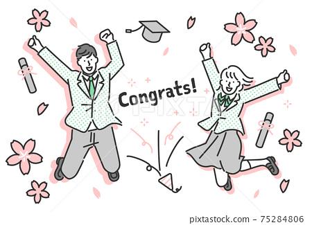 慶祝畢業和通過的男女學生的全身插圖素材 75284806