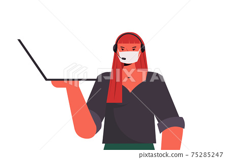 operator in headset wearing mask to prevent coronavirus pandemic self isolation labor day celebration concept 75285247