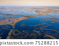 Scenic aerial view of high water in spring time 75288215